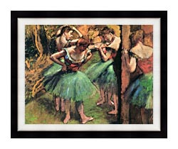 Edgar Degas Dancers Pink And Green canvas with modern black frame