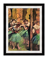 Edgar Degas Dancers In Pink And Green canvas with modern black frame