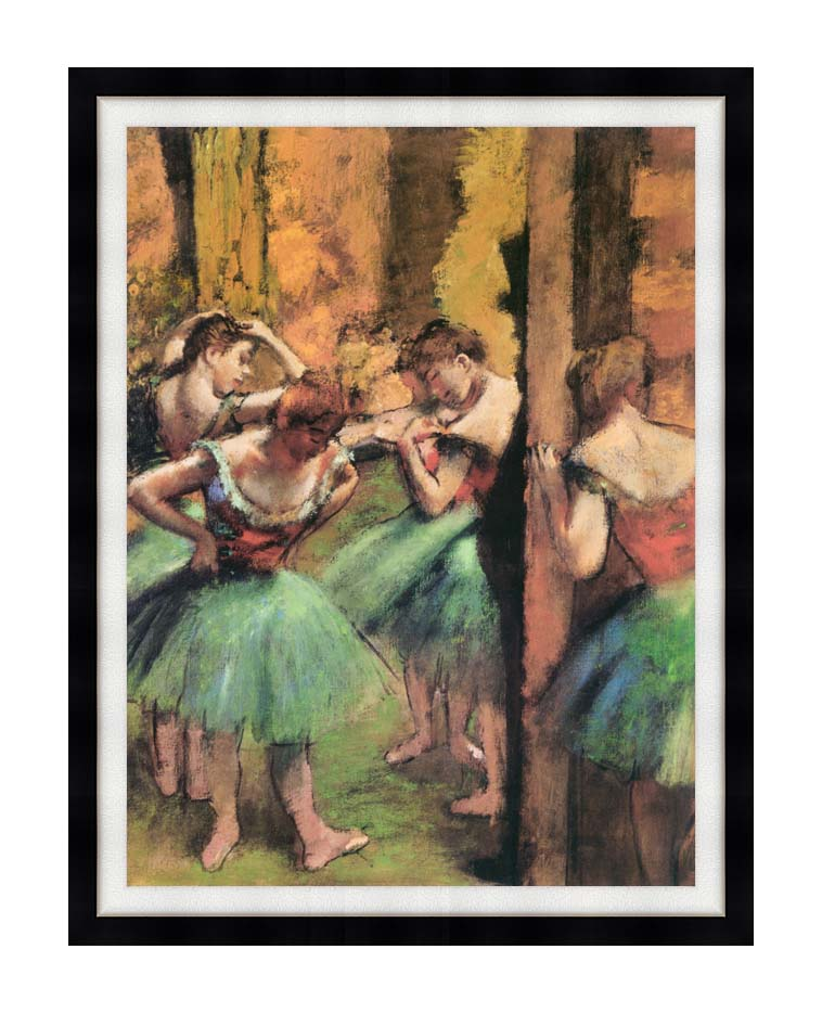 Edgar Degas Dancers in Pink and Green with Modern Black Frame