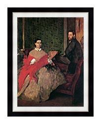 Edgar Degas Edmondo And Therese Morbilli canvas with modern black frame