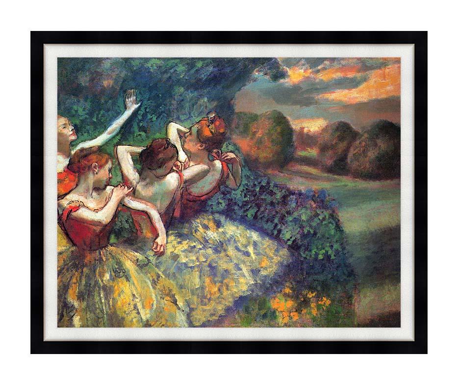 Edgar Degas Four Dancers with Modern Black Frame