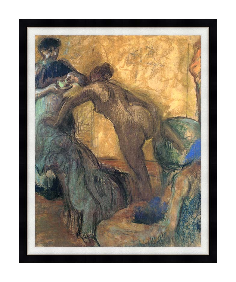 Edgar Degas The Cup of Chocolate with Modern Black Frame