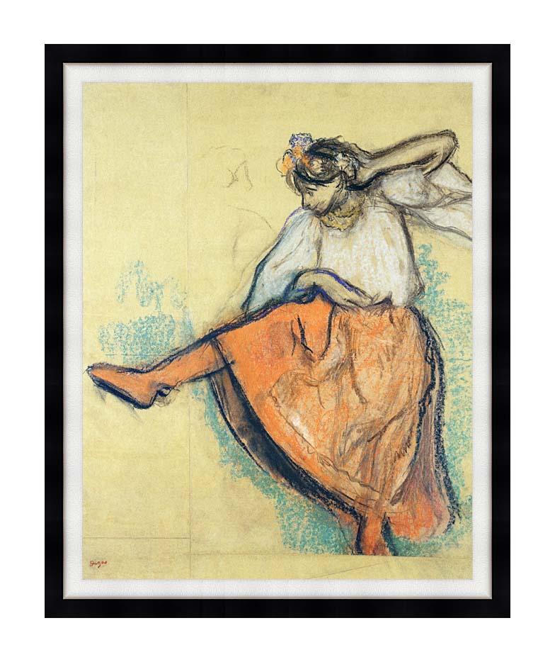 Edgar Degas The Russian Dancer with Modern Black Frame