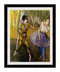 Edgar Degas Harlequin And Colombina canvas with modern black frame
