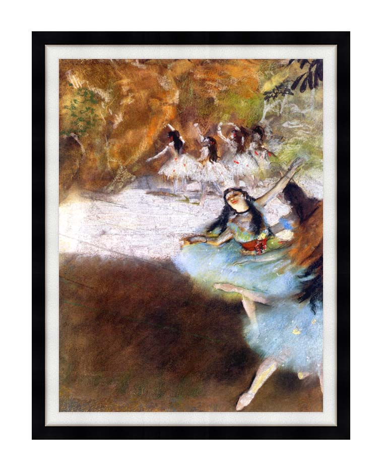 Edgar Degas Ballet on the Stage with Modern Black Frame