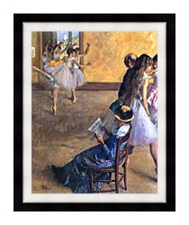 Edgar Degas The Ballet Class canvas with modern black frame
