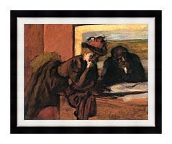 Edgar Degas The Conversation canvas with modern black frame