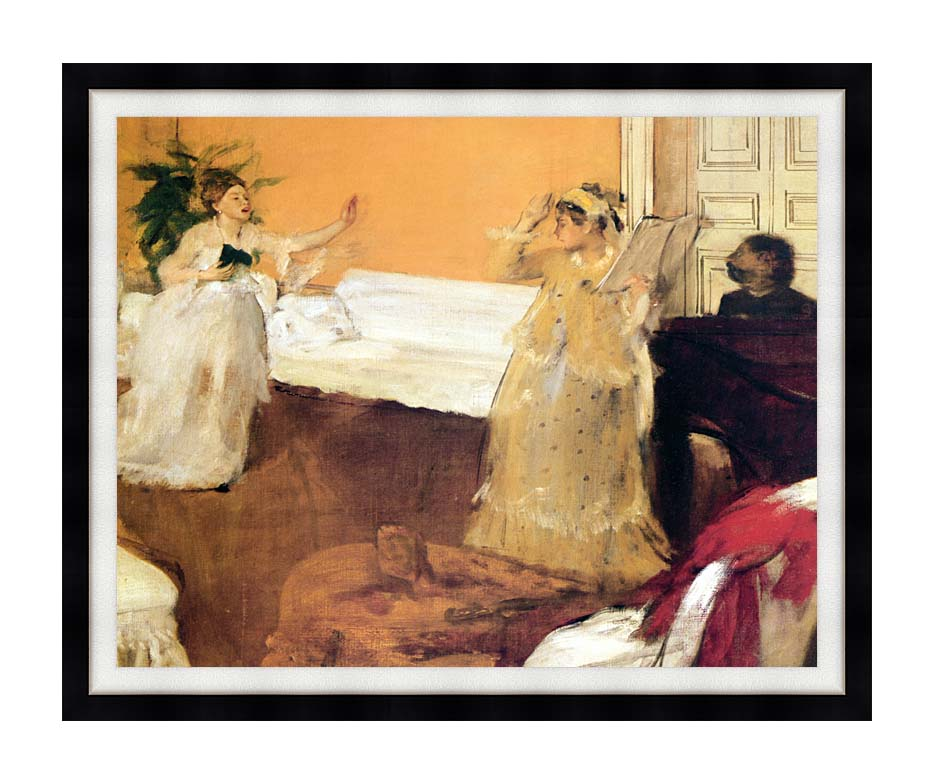 Edgar Degas The Song Rehearsal with Modern Black Frame