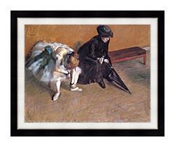 Edgar Degas Waiting canvas with modern black frame