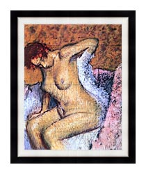 Edgar Degas Woman Sitting Drying Her Back canvas with modern black frame