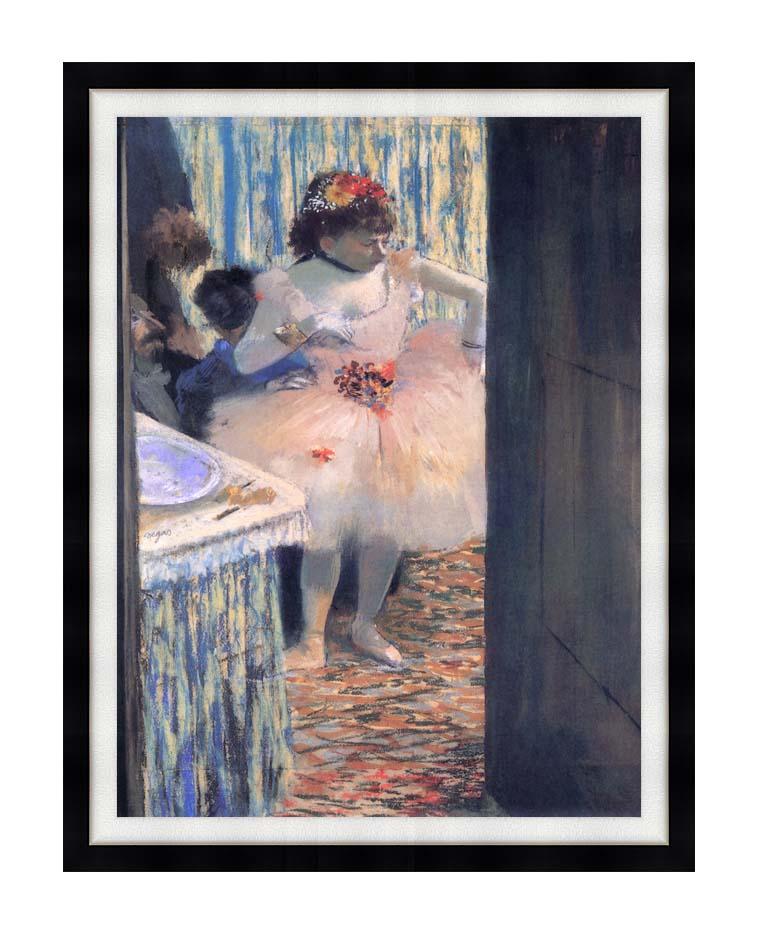 Edgar Degas Dancer in Her Dressing Room with Modern Black Frame