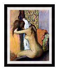 Edgar Degas After The Bath Woman Drying Her Neck canvas with modern black frame