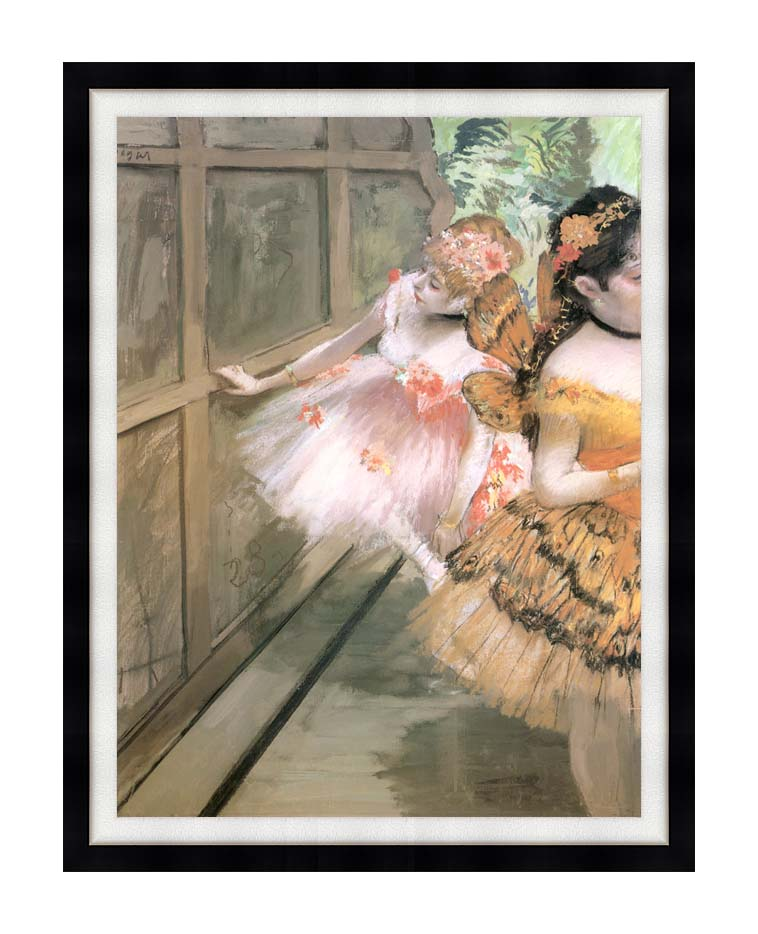 Edgar Degas Impressionist Dancers in the Wings with Modern Black Frame