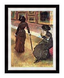 Edgar Degas Mary Cassatt At The Louvre canvas with modern black frame