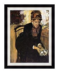 Edgar Degas Miss Cassatt Holding Cards canvas with modern black frame