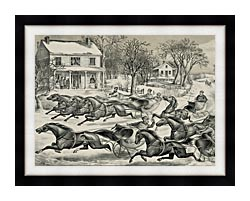 Currier And Ives A Brush For The Lead   New York Flyers On The Snow canvas with modern black frame