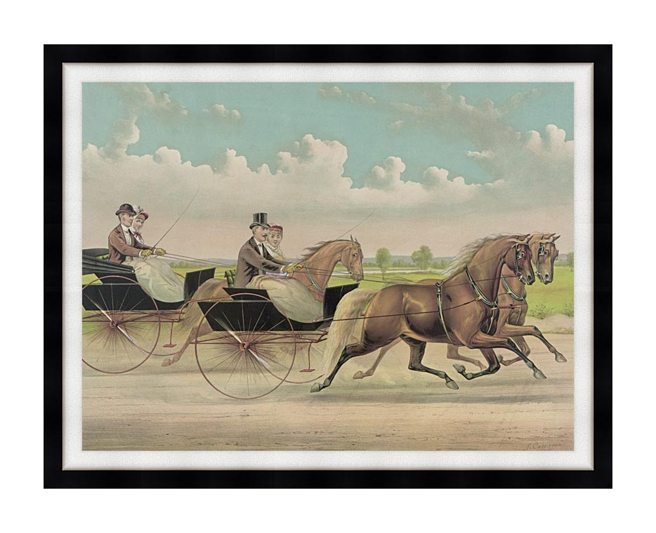 Currier and Ives A Brush with Webster Carts with Modern Black Frame
