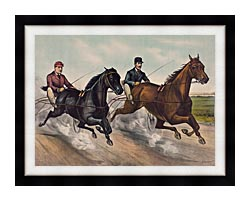 Currier And Ives A Champion Race canvas with modern black frame