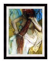Edgar Degas Nude Woman Combing Her Hair canvas with modern black frame