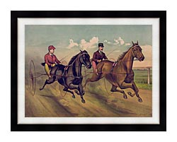 Currier And Ives A Champion Horse Race canvas with modern black frame