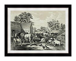 Currier And Ives American Farm Yard   Evening canvas with modern black frame