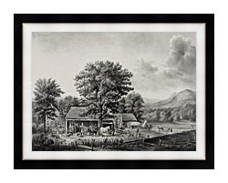 Currier And Ives Autumn In New England   Cider Making canvas with modern black frame