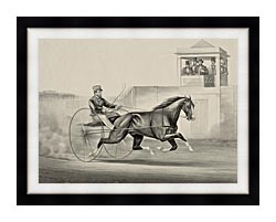 Currier And Ives Celebrated Horse Dexter The King Of The World canvas with modern black frame