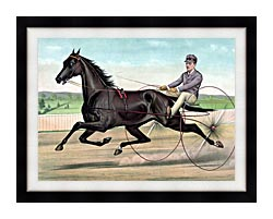 Currier And Ives Celebrated Trotter Jay Eye See canvas with modern black frame