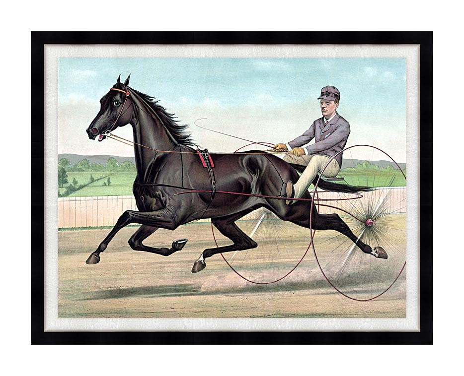 Currier and Ives Celebrated Trotter Jay Eye See with Modern Black Frame