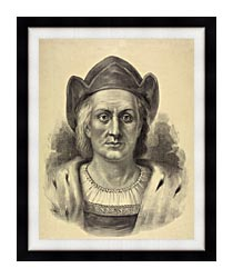 Currier And Ives Christopher Columbus Discoverer Of America canvas with modern black frame