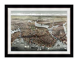 Currier And Ives City Of Boston canvas with modern black frame