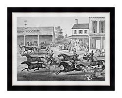 Currier And Ives Coming From The Trot   Sports On The Home Stretch canvas with modern black frame