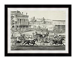 Currier And Ives Going To The Trot   A Good Day And Good Track canvas with modern black frame