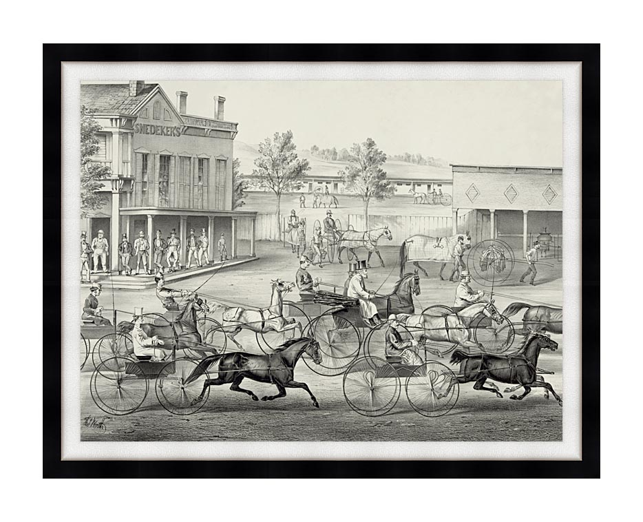 Currier and Ives Going to the Trot - A Good Day and Good Track with Modern Black Frame