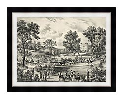 Currier And Ives Grand Drive Central Park NY canvas with modern black frame