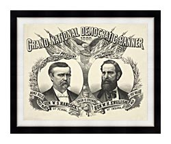 Currier And Ives Grand National Democratic Banner 1880 canvas with modern black frame