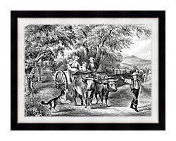 Currier And Ives Haying Time The First Load canvas with modern black frame