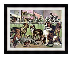 Currier And Ives House Kennel And Field canvas with modern black frame