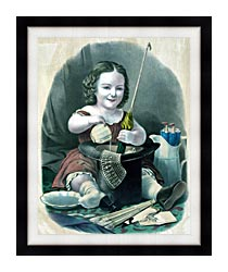 Currier And Ives Little Girl Into Mischief canvas with modern black frame