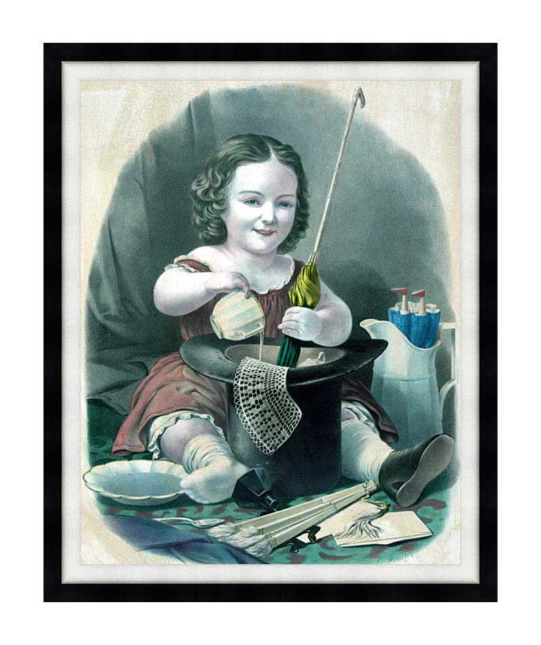 Currier and Ives Little Girl Into Mischief with Modern Black Frame