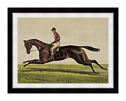 Currier And Ives Iroquois Thoroughbred Horse canvas with modern black frame