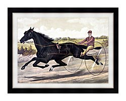 Currier And Ives Jay Eye See Trotter Horse Racing canvas with modern black frame