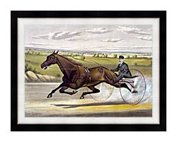 Currier And Ives Maud S Trotter Race Horse canvas with modern black frame