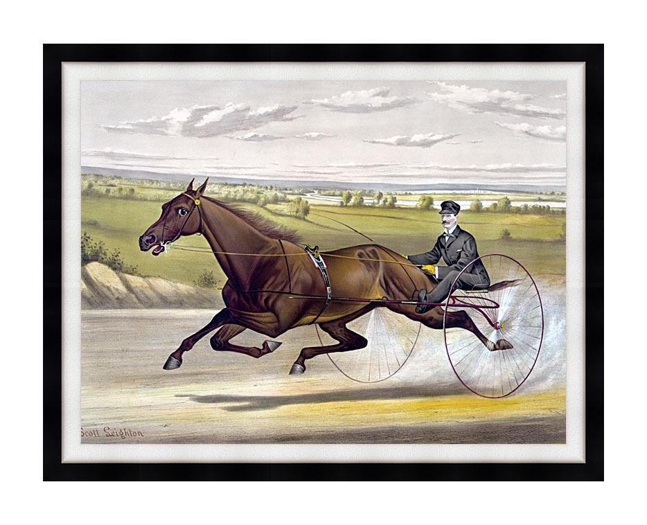 Currier and Ives Maud S Trotter Race Horse with Modern Black Frame