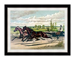 Currier And Ives Mill Boy And Blondine Harness Racers canvas with modern black frame