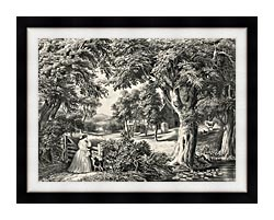 Currier And Ives My Cottage Home canvas with modern black frame