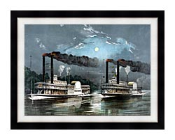 Currier And Ives A Midnight Race On The Mississippi River canvas with modern black frame