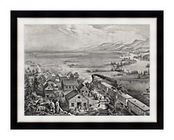 Currier And Ives Railroad Across The Continent canvas with modern black frame