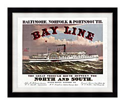 Currier And Ives Bay Line Steamship canvas with modern black frame