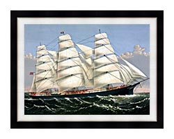 Currier And Ives Clipper Ship Three Brothers canvas with modern black frame